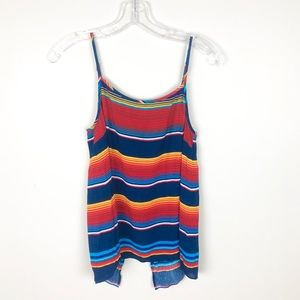 1. State Red Blue Striped Tie Tank Top